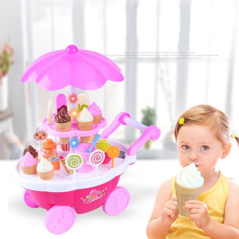 Educational Mini Ice Cream Cart toy with music and light