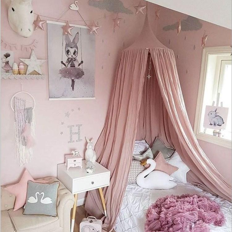 Princess Bed Canopy Tent,Round Dome Mosquito Net ,Kids Room Decoration Play Reading Tent with star