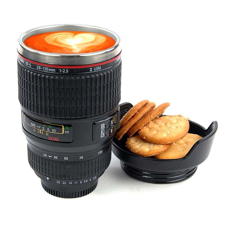 Camera Lens Travel Thermos, Stainless Steel Insulated Cup with  Lid,Water Bottle