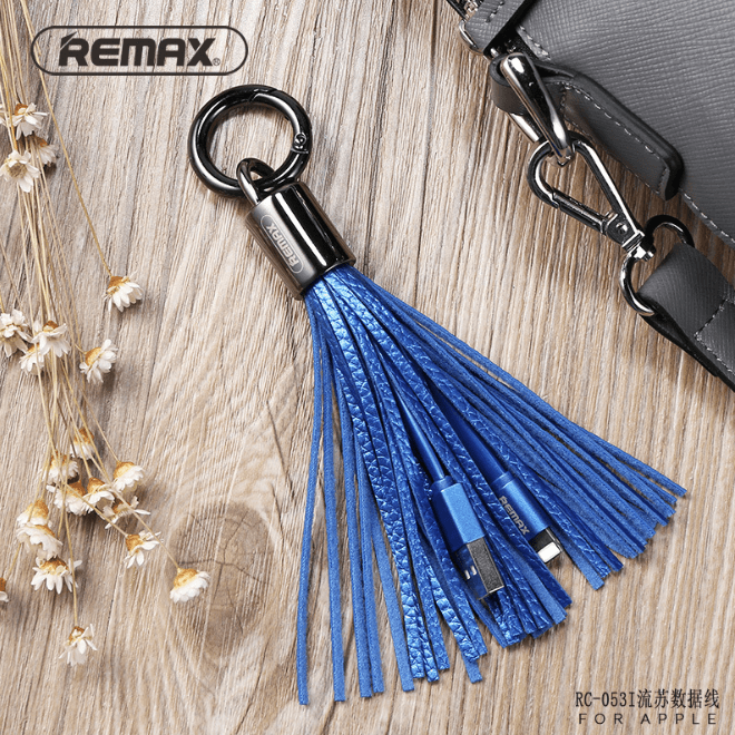 REMAX Portable Iphone mobile charing cable with Key Ring,Leather trim RC-053i