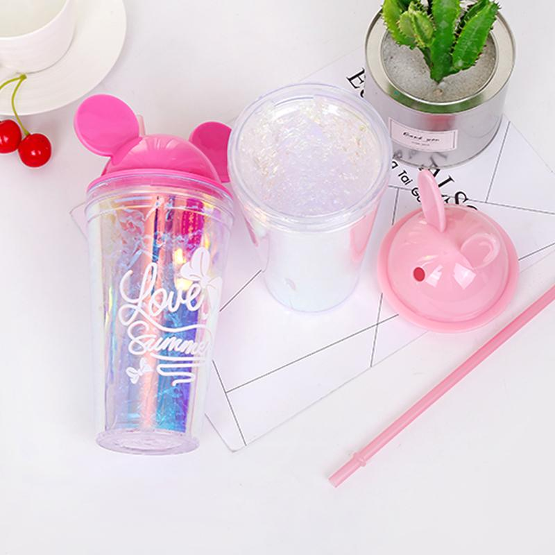 Creative Double Wall Plastic Ice Cup Water Bottle,550 ML